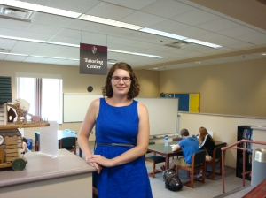 Maureen McCoy stands in Bellarmine's new space for scheduled tutoring sessions.